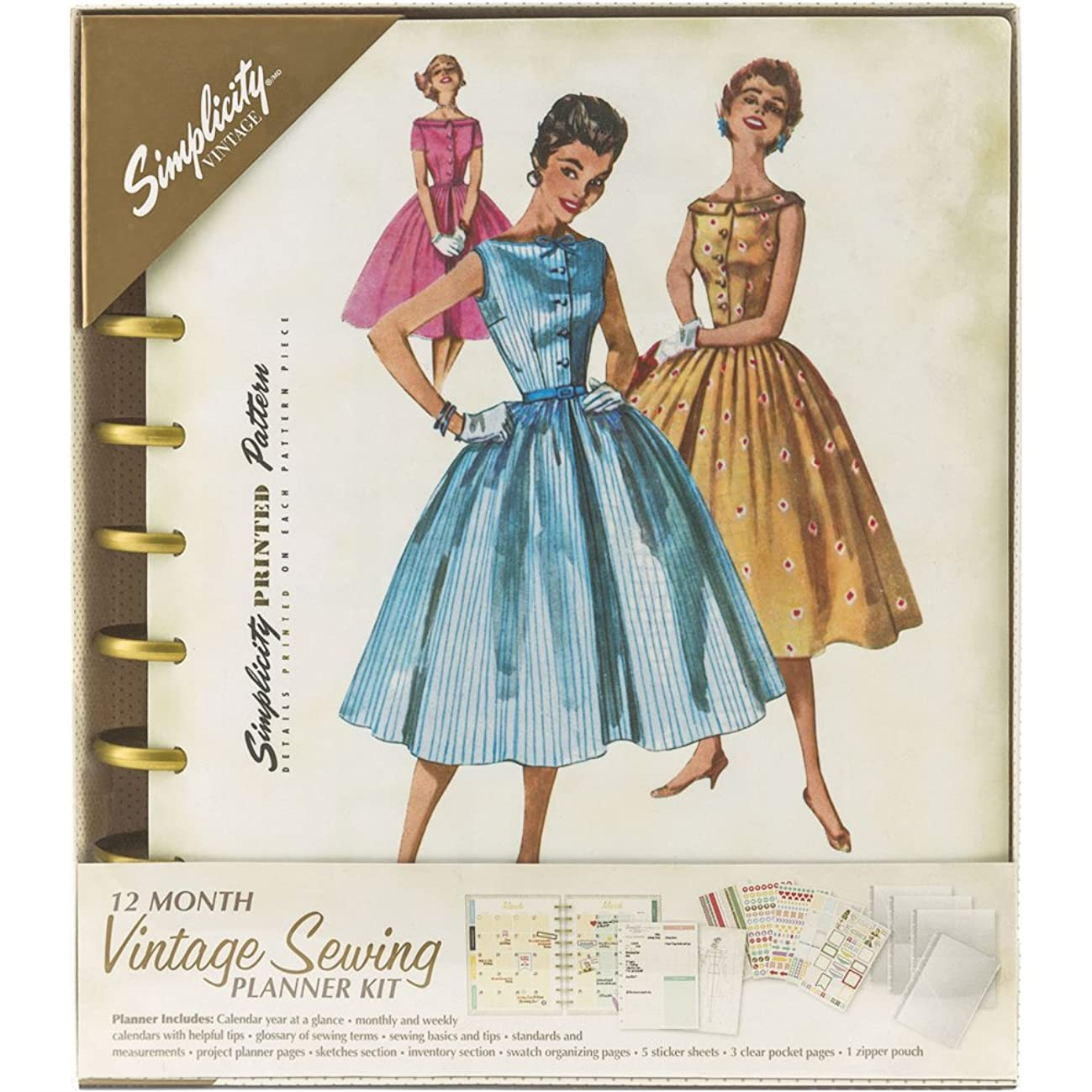 Simplicity Vintage Vintage Fashion Sewing 12 Month Planner, 232 Pages, 8.6'' x 9.5''