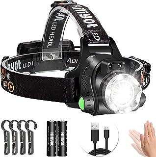 Hiliyotヘッドライト LEDヘッドランプ アウトドア用ヘッドライト 人感センサー 電池残量指示ランプ USB充電式 高輝度 ランニング ライト 釣り ライト ヘルメットライト センサー 角度調整可 作業用 防災(PSE認証 2*18650付属)