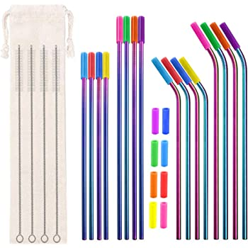 """Metal Straws Reusable 8.5"""" 10.5"""" 6mm Bent Straight for 20 30oz, 16pcs Rainbow Stainless Steel Drinking Straws, 24 Silicone Tips, 4 Straw Cleaner Brush, 1 Pouch"""