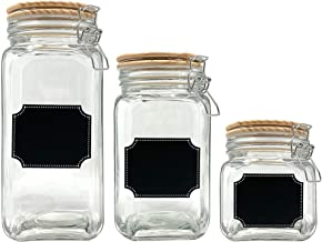 Glass Canister Food Storage Set of 3 with Airtight Wood Lids and Chalkboard Labels, Clear Container for Farmhouse Rustic K...