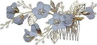 Vintage Blue Flower Crystal Pearl Side Combs Bridal Headpiece Wedding Hair Accessories (A)