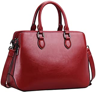Heshe Leather Womens Handbags Totes Top Handle Bags Shoulder Bag Satchels For Ladies with Long Cross Body Strap Structured...