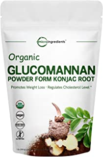 Organic Glucomannan Powder (KonJac Powder), 1 Pound, Source of Natural Fiber for Digestive Health, Non-GMO & Vegan Friendly