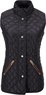 Bellivera Women's Stand Collar Lightweight Gilet Quilted Puffer Padded Zip Vest Jacket for Spring