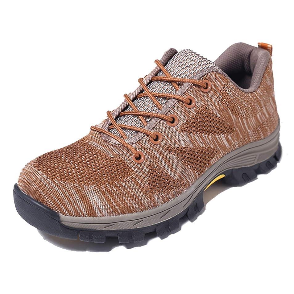 暴露する金銭的先newbell ユニセックス 安全靴男性の女性の作業靴スチールトゥスポーティなハイキングローシューズ通気性の保護靴ハイキングシューズ 28.0cm coffee