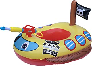 Big Summer Inflatable Pirate Boat Pool Float for Kids with Built-in Squirt Gun, Inflatable Ride-on for Kids Aged 3-7 Years
