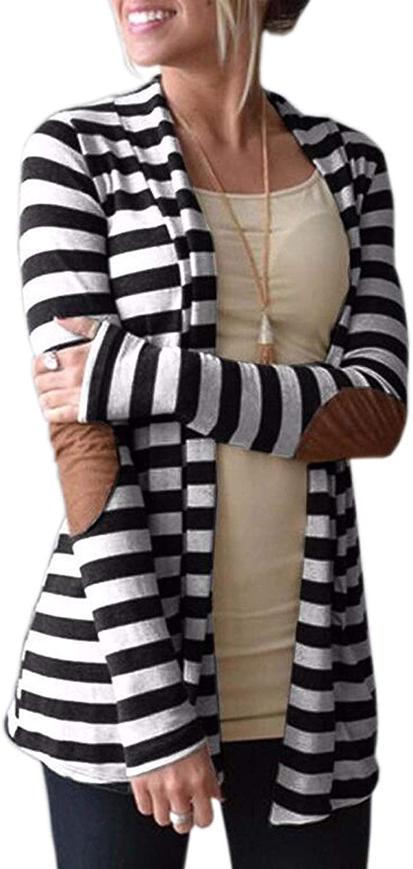 SEMATOMALA Women's Striped Printed Long Tunics Classic Long Sleeve Lace Stitching Patchwork Blouse Shirts Tops