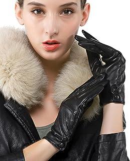 Nappaglo donne italiane di pelle guanti di pelle perforazione semplice rivestimento in seta guanti (touchscreen o non touc...