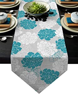 BMALL Table Runner Teal Blue White Bouquets Peony Flower Table Runners Morden Stylish Wedding Party Holiday Table Setting Decor 13 x 90 Inches