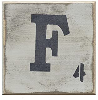 """Pine Designs, Distressed Styled Letter Scrabble Tile 5.5"""" x 5.5"""", F"""