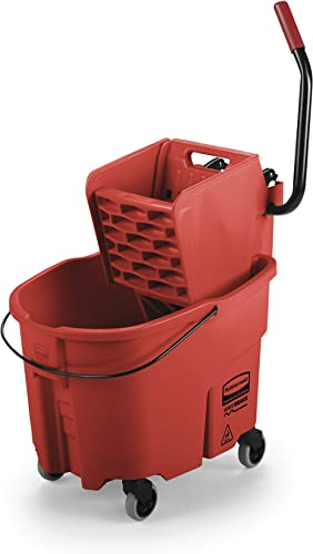 Rubbermaid Commercial WaveBrake 2.0 35 QT Side-Press Mop Bucket and Wringer, Red (FG758888RED)