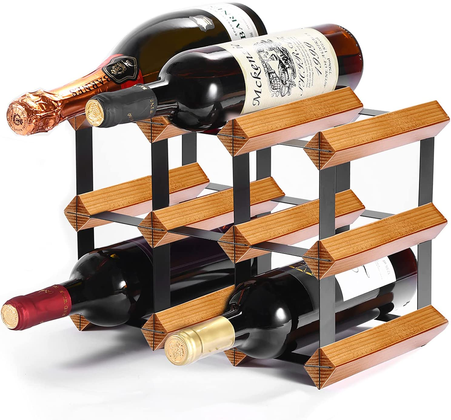 New Free Shipping Wood Countertop Wine Directly managed store Rack 9 Bottles Need Assembly Bottle No
