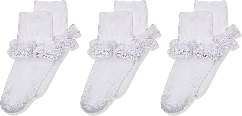 Jefferies Socks Big Eyelet Turn Cuff/Fancy Lace Girls Socks 3 Pack