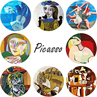 Coasters for Drinks Absorbent Ceramic Absorbing Stone Coasters Protects Furniture, Cork Base Bar Decor Round 4 inch Decorative (8PACK Picasso)