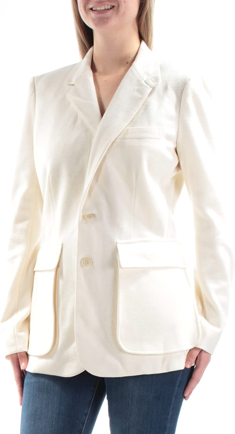 RALPH LAUREN  398 Womens New 1016 Ivory Pocketed Peacoat Casual Coat 10 B+B