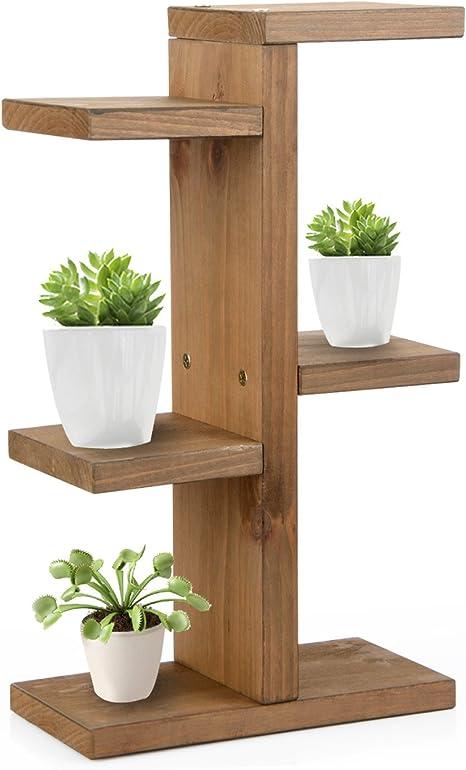 JYCRA Mini soporte de madera para plantas con diseño de escalera para plantas o macetas, estante para almacenamiento en interiores y exteriores, ...