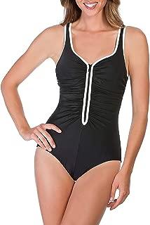 Reebok Women's Zig Zag V Neck One Piece Swimsuit, Black/White, 16