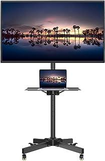 1homefurnit テレビスタンド 移動式 テレビ台 TV スタンド 23-55インチテレビ(LCD/LED/PLASMA/OLED)対応 キャスター付き 耐荷重25kg 業務用スタンド ハイタイプ 高さ調整可能 省スペース 黒い