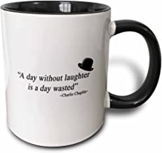 3dRose 171870_4 Without Laughter is A Day Wasted Quote Two Tone Mug, 11 oz, Black