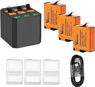Vemico gopro バッテリー ゴープロ 充電器 Hero 7 ブラック/Hero 6/Hero 5/Hero 2018 対応 収納ボックス式3ポートUSB充電器付き Type-Cインターフェイス 予備バッテリー 3*1500mAh 交換バッテリー セットチャージャー 同時充電可能 USB インターフェイス ゴープロアクセサリー リチウムイオンバッテリー