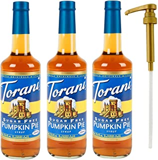 Torani Sugar Free Pumpkin Pie Syrup 3 Pack, 25.4 Ounce 3 Glass Bottles Plus 1 Torani Syrup Pump for the Perfect Measurement Every Time