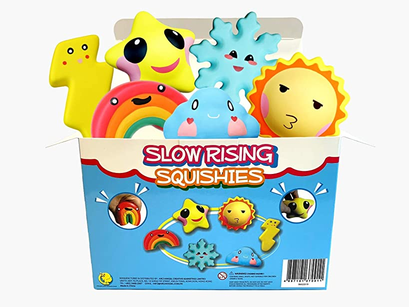 Archangel Creative Weather Squishies Toy Pack, 6 Pcs Squishies Toys Party Favors Stress Release for Kids Cute Sun Star Rainbow Snow Lightning and Sunny Cloud Stress Relieved Toys