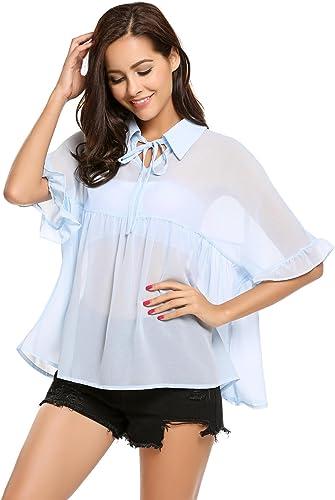 Algodón-hecho blusa con cut-outs en azul claro a rayas talla 48