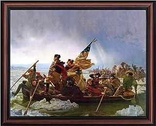 Washington Crossing The Delaware by Emanuel Leutze, Framed Wall Art Print, Famous American Revolution Painting Print, 11x1...