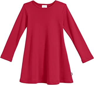 Girls' 100% Cotton Long Sleeve Dress - Active Kids School, Playing, Parties - Made in USA