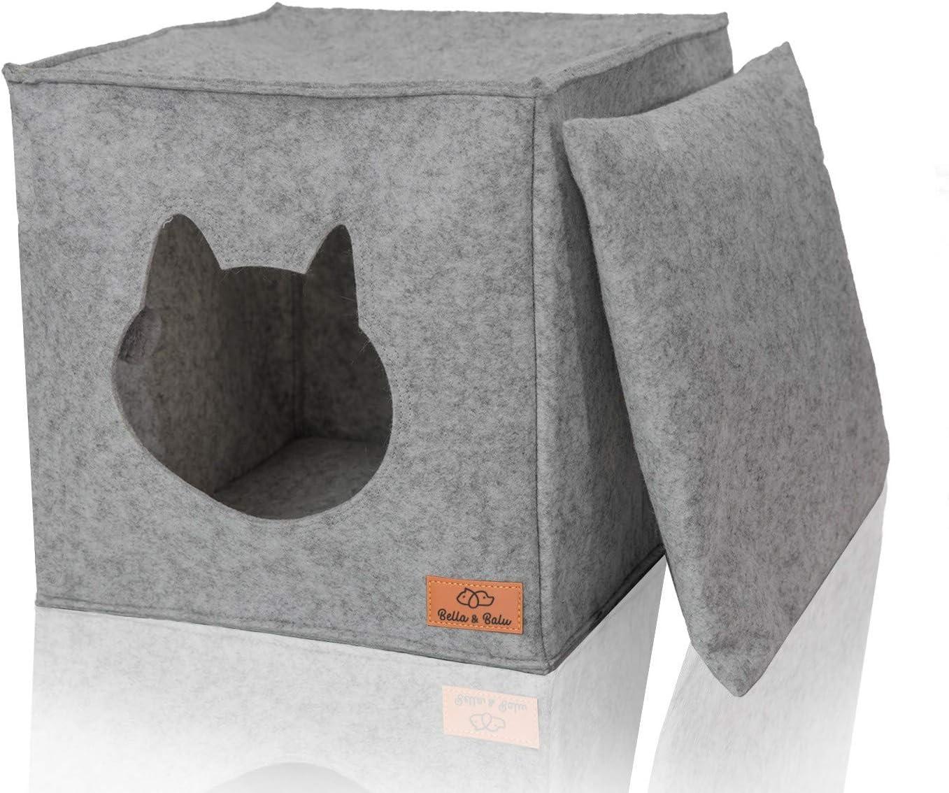 Bella & Balu Casa para Gatos | Cueva para Gatos Perros- Guarida Plegable para Gato, para Que duerma, se esconda, rasque y mordisquee (Gris Claro)
