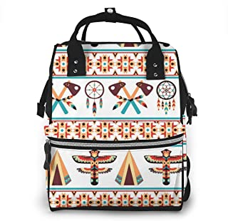 Ethnic Border Multi-Function Travel Backpack Nappy Bag,Fashion Mummy Bag