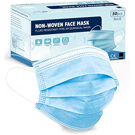 KEPLIN 50pk UK MADE Surgical Type IIR Face Masks, 3 Layer Medical Fluid Protection, 98% BFE, EN14683:2019, CE Verified and Tested (Non Sterile) Blue