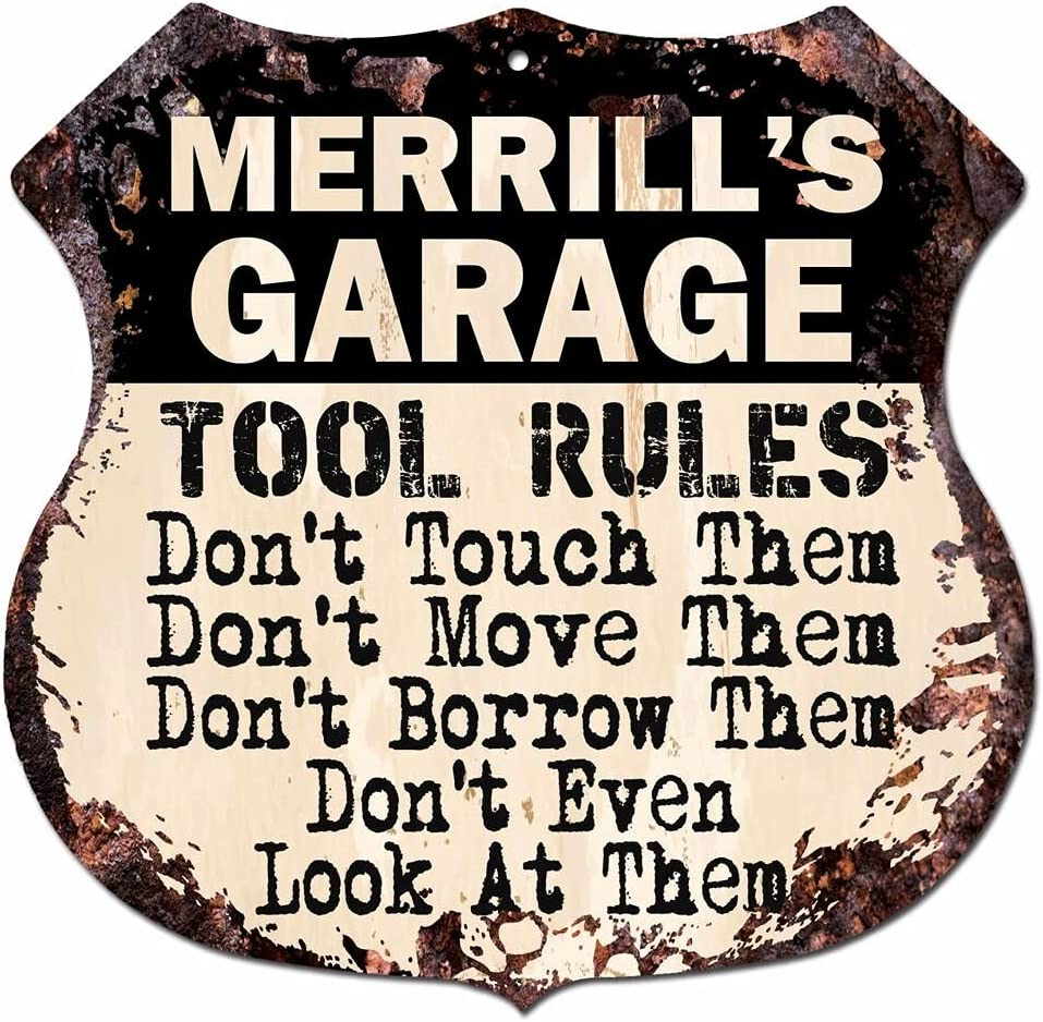 BPG0726 MERRILL'S Garage Tool Rules Rustic Decor Selling and selling F Cave Man 2021 spring and summer new Sign