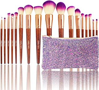 DIOLAN 17pcs Professional Makeup Brushes Set for Foundation Blending Blush Concealer Eye Shadow, Cruelty-Free Synthetic Fiber Bristles, Travel Makeup bag Included, Glitter Purple