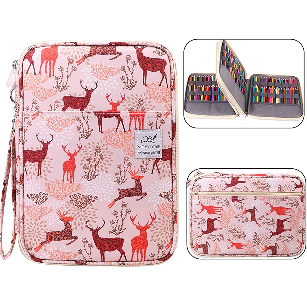 Max 192 Slots Colored Pencil Case Holder Large Capacity Pen Pencil Organizer for Watercolor Pencils & Markers& Gel Pens & Crochet Hooks& Cosmetic Brush, Great Gift for Student Artist (Deer)