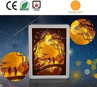 Kuan-Paper carving lamp Papel 3D Talla lámpara de Noche, Pareja romántica Papel Talla Lámpara Hecha a Mano-Papel-Cut Caja de luz, Conveniente para el Regalo de Interiores y decoración de Escritorio.