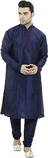 SKAVIJ Men's Art Silk Kurta Pajama Set Indian Party Wear Clothing