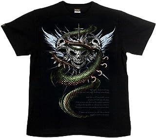 [GENJU] Tシャツ スカル ドクロ 骸骨 十字架 ロック系 バイカー アメカジ 背面無地版 メンズ