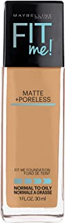 Maybelline Fit Me Matte + Poreless Liquid Foundation Makeup, Toffee, 1 fl. oz. Oil-Free Foundation