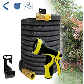 Froadp Gartenschlauch 30m Flexischlauch Erweiterbar Wasserschlauch Brause Düse mit 9 Funktionen für Gartenbewässerung und Reinigung(100Ft, Schwarz)