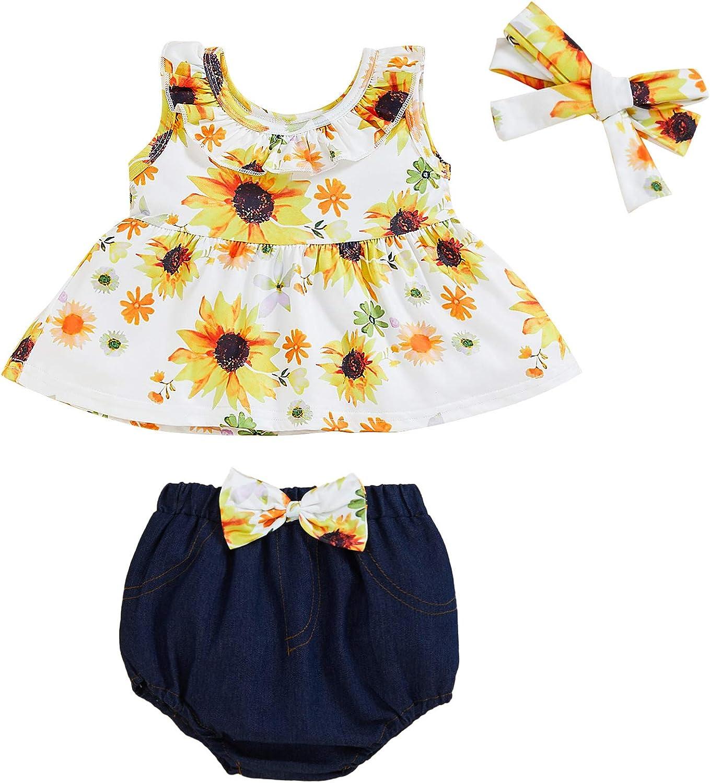 Toddler Baby Girl Floral Shorts Set Ruffle Tank Crop Top+Denim Bloomer+Headband Summer Clothes
