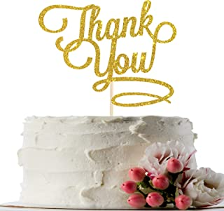 INNORU Gold Glitter Thank You Cake Topper for Thanksgiving Day - Bridal Shower - Holiday Home Supplies - Mom Dad Birthday Party Cake Decorations