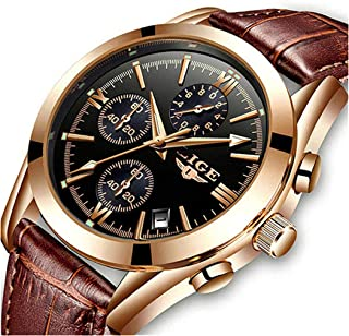 Mens Watch Leather Analog Quartz Wristwatch Men Date Business Dress Wristwatch Men's Casual Waterproof Sport Clock Black Brown