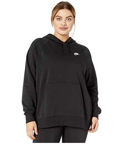 Nike Plus Size NSW Essential Hoodie Pullover Fleece (Black/White) Women