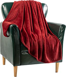 Flannel Blanket Fleece Throw Queen Size Burgundy Red All Season Lightweight Plush Cozy Super Soft Luxury Couch Sofa Bed Bl...