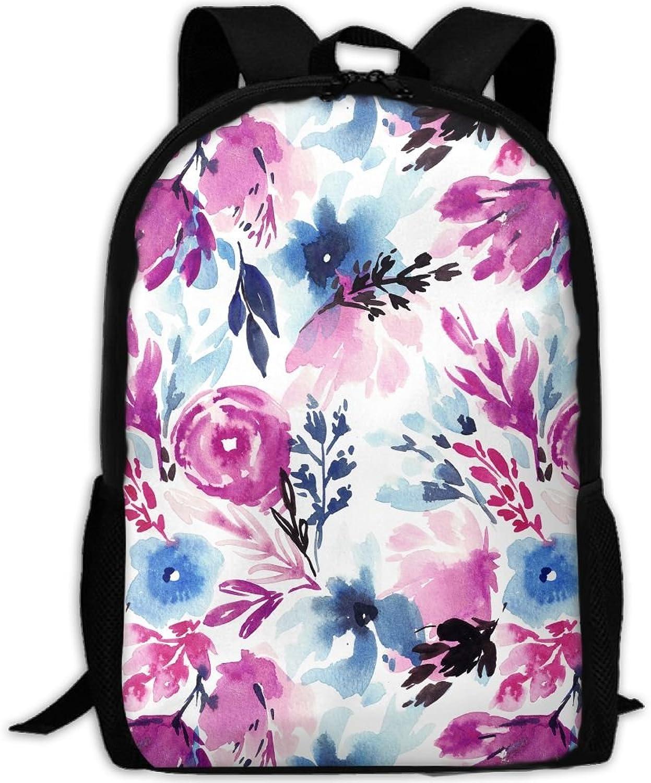 Backpack Briefcase Laptop Travel Hiking School Bags Misty Flowers Daypack Shoulder Bag