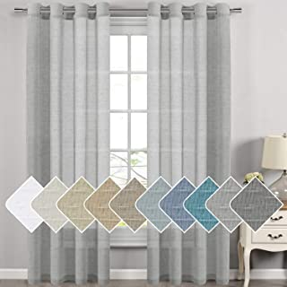 H.VERSAILTEX Extra Long Linen Curtains for Dining Room Window Treatment Nickel Grommet Solid Linen Sheer Curtains Draperies for Living Room/Bedroom (52x108 Inch - Set of 2 - Dove Gray)