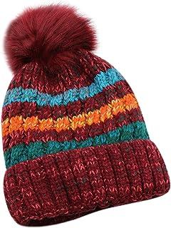 Women Winter Warm Knit Beanie Hat Fleece Lined Striped Ski Cap with Fur Pom Pom