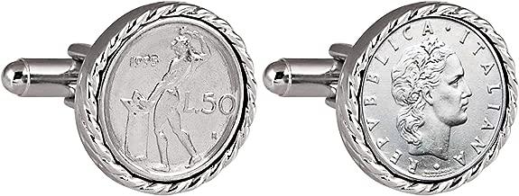 Italian 50 Lire Cuff Links | Genuine Lira Coins | Silvertone Rope Bezel | Bullet Backs | Men's Formal Wear Cufflinks