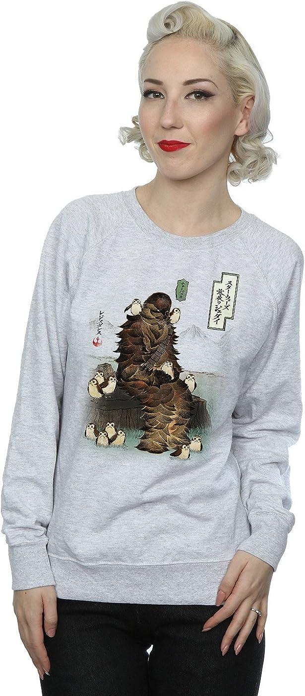Star Wars Women's The Last Jedi Japanese Chewbacca Porgs Sweatshirt Large Heather Grey